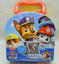 Paw Patrol On The Go Sidewalk Chalk & Stencil Kit Tin Carry Case With Ha... - $23.00