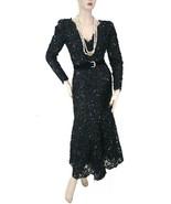 Oscar de la Renta Vintage L/S Sequin Black Dress with Belt Size 6 - $1,900.00