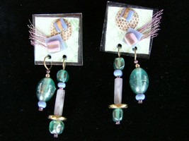 Vintage 1980 Mixed Media Earrings Artisan Made  Pastel Colors - $14.84