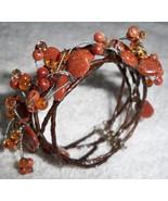 Vtg Handmade Multi Strand Braided Copper Beaded Bracelet Cuff Art Glass ... - $39.55