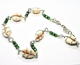 Necklace the Aluminium Long 48 Inch with Seashells Hematite and Crystals Strass image 7