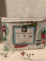 Holiday Flannel Cozy Sheet Set Twin Penguins Snowglobes Christmas Trees ... - $39.99