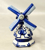"""5"""" Windmill Bell Ceramic Porcelain Blue White Windmill Spins Manually - $13.98"""
