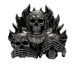 See Hear and Speak No Evil Wall Mounted Gothic by DWK | Flaming Skulls |... - $35.95