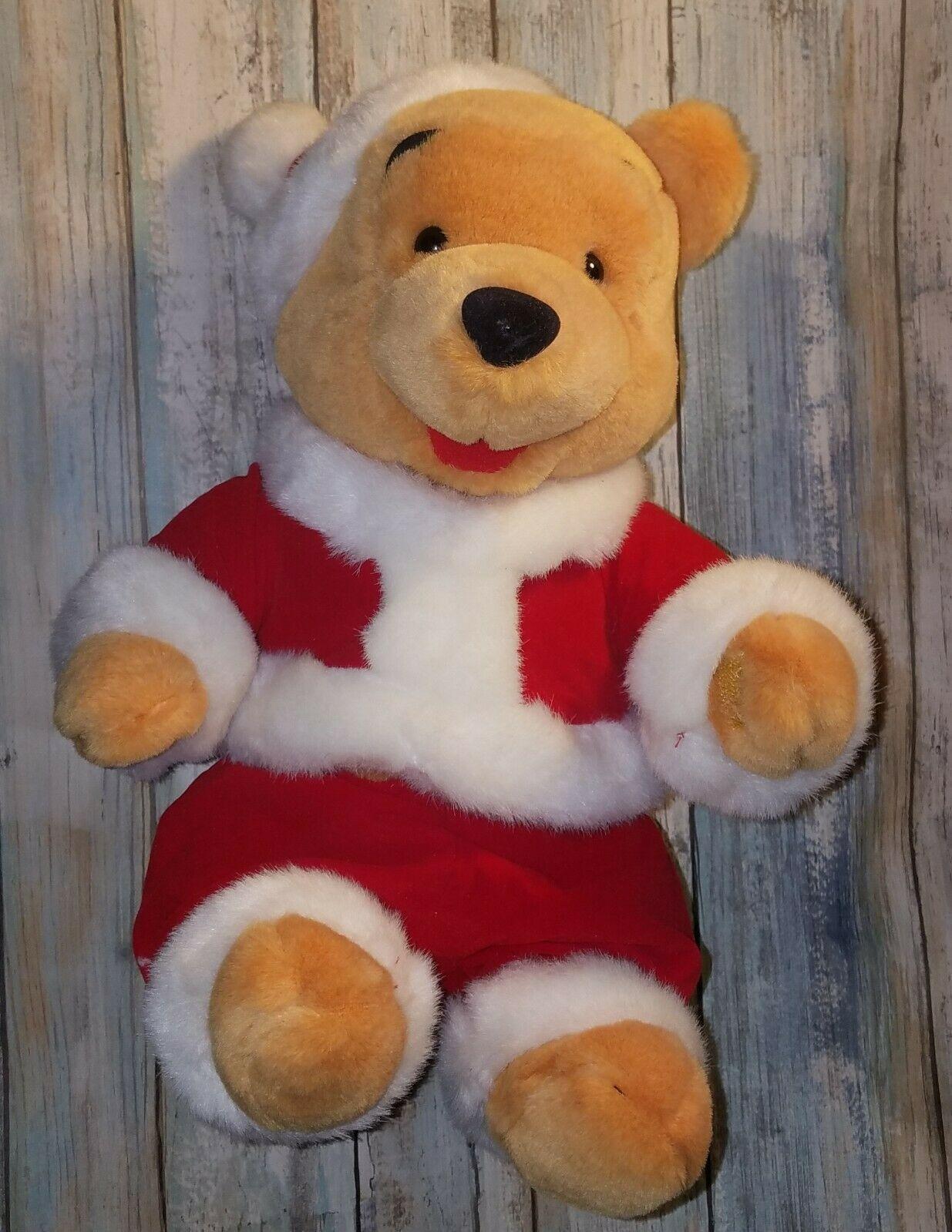 Christmas Winnie The Pooh Wind Up Plush Bear - Wish You A Merry Christmas Disney