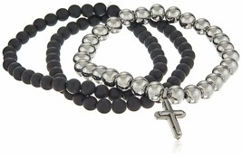 Set of Three Black Lava & Silver Stainless Beaded Holy Cross Charm Bracelets NWT