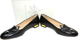 Charlotte Olympia Blck Leather Kitty Smoking Slipper Flats Shoe Ballets 40-9 Cat image 6