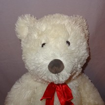 Teddy Bear White Red Ribbon Bow Plush Stuffed Animal 16 inch 2006 Wild Republic - $10.99