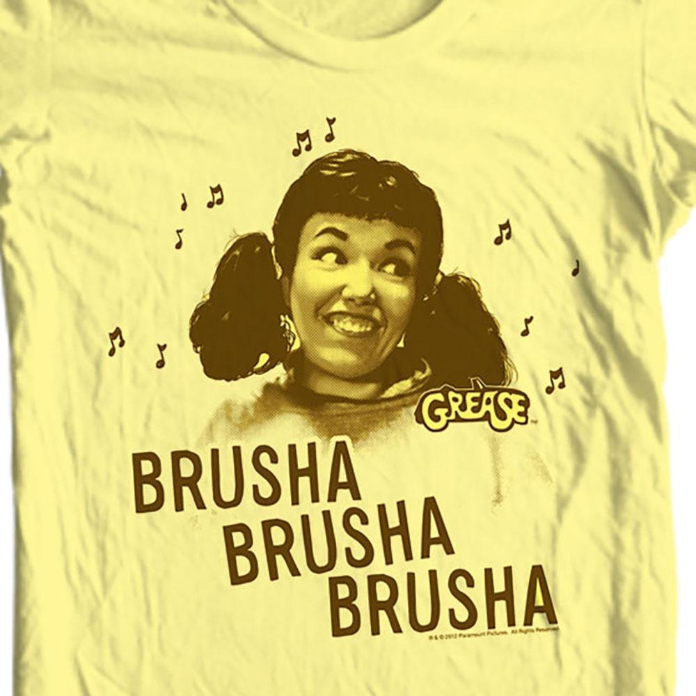 N travolta olivia newton john pink ladies t birds retro classic 50s style graphic t shirt yellow