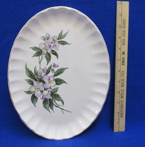 Oval Serving Platter Plate Tray Purple Violet Flower Floral Ivory Vintage - $12.86
