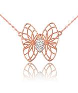 14K Rose Gold Filigree Butterfly Diamond Necklace - $179.99+
