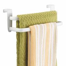 mDesign Metal Modern Kitchen Over Cabinet Double Towel Bar Rack - Hang on Inside