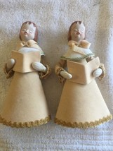 VINTAGE CHOIR GIRLS- PORCELAIN HEAD/HANDS FELT & CARDBOARD FIGURE - $18.76