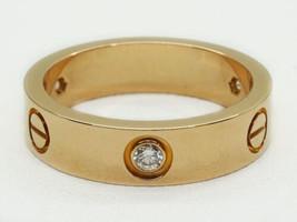 Cartier 18k Rose Gold Love Ring, 3 Diamonds, Size 9.25, Box & Certificate - $2,635.00