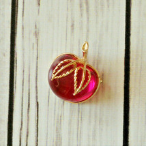 vintage Sarah Coventry bright pink jelly belly lucite cherry fruit brooch pin - $24.74