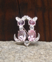 Limited Edition Trifari 1997 Pink and Purple Crystal Cat Brooch - $200.00