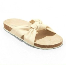 Universal Thread Womens Junie Cream Vegan Faux Leather Knotted Slide Sandals NWT