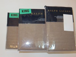 Ralph Lauren Roth Taupe King Flat Sheet NIP $215 - $82.40