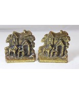 Peerage Brassware A Welcome Guest Cottage Inn Brass Bookends Pair of 2 E... - $26.72
