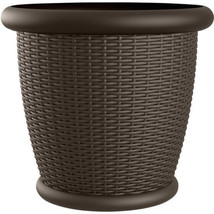 "Wicker Resin Planter 22"" Round Indoor Outdoor Garden Flower Planting Pot... - €55,02 EUR"