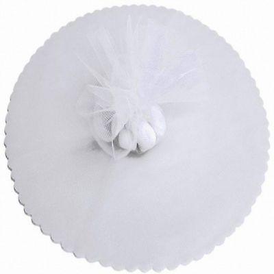 "100 Scalloped Tulle Circles 9"" Wedding Favor Wrap - White"