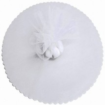 "100 Scalloped Tulle Circles 9"" Wedding Favor Wrap - White - $7.92"