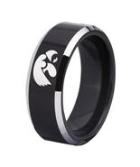 Iowa Hawkeyes Ring Football NFL Team Logo Tungsten Carbide Fit Ring Black - $34.99