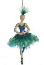 Kurt Adler Peacock Ballerina Blonde w/GREEN & Teal Tutu Ballet Xmas Ornament B - $14.88