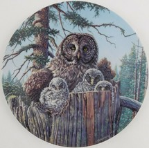 Knowles Jim Beaudoin Forests Edge Great Grey Owls Plate Under Mothers Wi... - $29.70