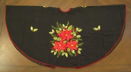 """40""""Christmas Tree Skirt Black with Embroidered Poinsettia & Red Trim - $37.57"""