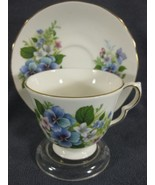 Queen Anne Blue & Pink Flowers 8609 Tea Cup & Saucer Set English Bone Ch... - $34.95