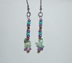 Stone earrings natural Rainbow Fluorite, glass 2in Boho handmade dangle ... - $5.00