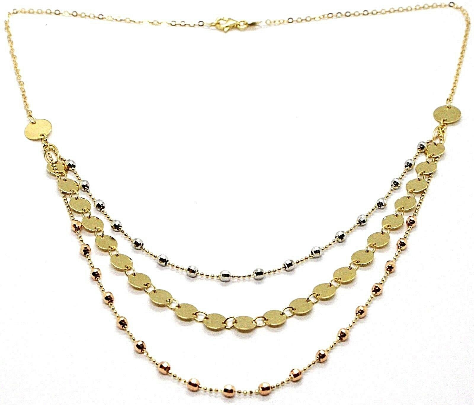 18K YELLOW WHITE ROSE GOLD STRAND NECKLACE, MULTI THREE WIRES WITH DISCS & BALLS