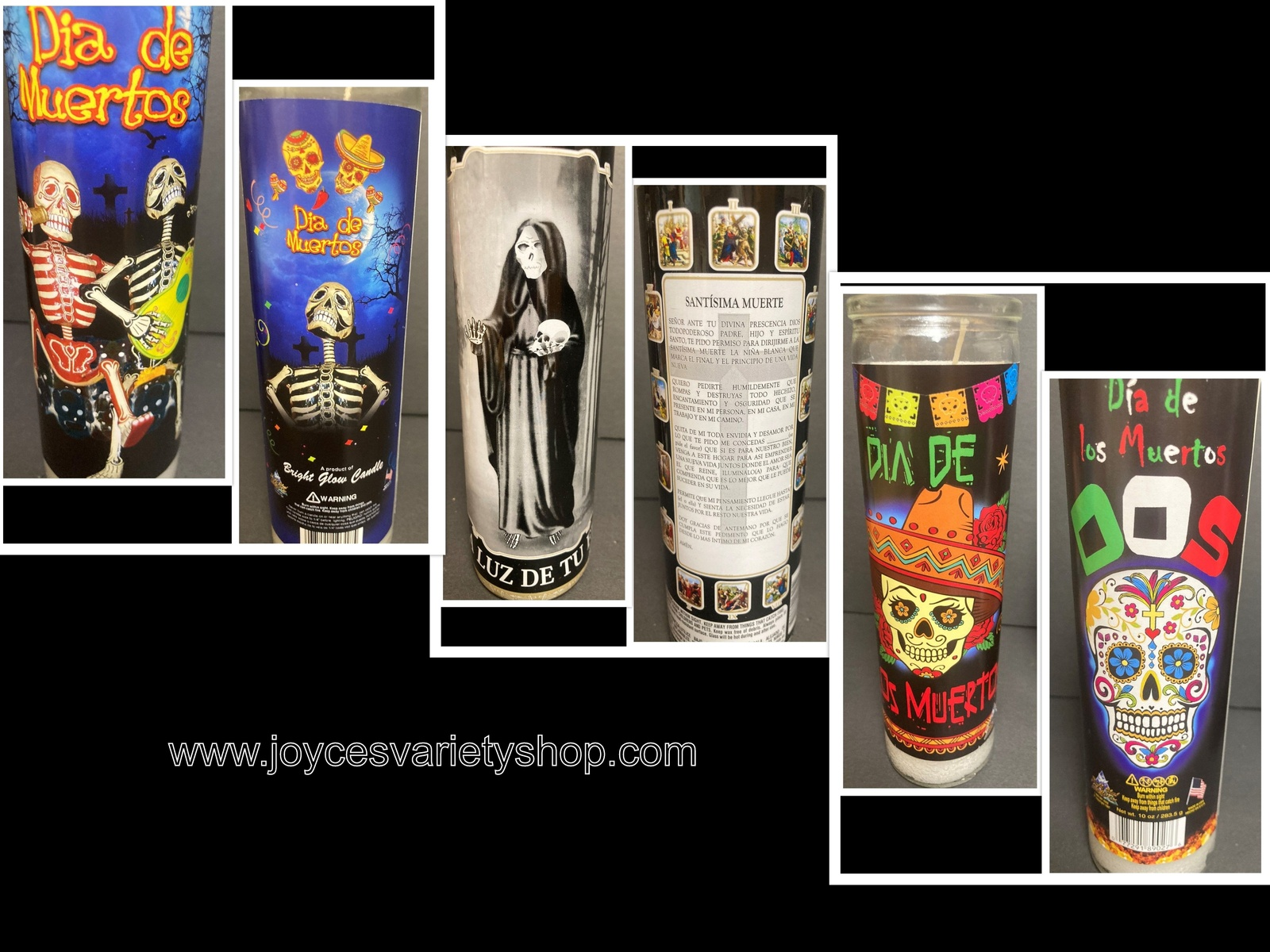 Primary image for Day of Dead Glow Candle Wick & Wax Party Skeletons DOS Santisima Muerta Choice
