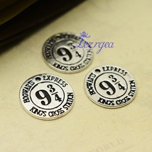 30pcs/lot--20mm, Hogwarts Express Platform Charms, Antique silver tone 9... - $20.58