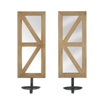 Mirrored Wood Candle Sconce Set  - $63.99