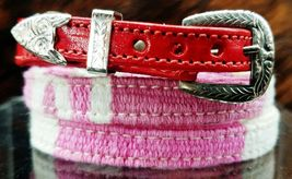 NEW HATBAND PINK & WHITE w/ RED LEATHER Ends & Buckle Western Cowboy Hat... - €10,47 EUR