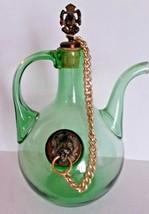 Italian Chianti Decanter Ice Chamber Hand Blown Green Glass Lion Head Cork - $105.64