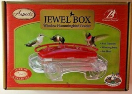 Aspects Jewel Box Suction Cup Window Hummingbird Feeder 8 oz Red 3 Ports... - $23.65