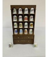 Lot Of 18 Thimbles Wooden Display Floral Campbells Coca Cola Morton Salt... - £30.09 GBP