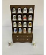 Lot Of 18 Thimbles Wooden Display Floral Campbells Coca Cola Morton Salt... - $39.59