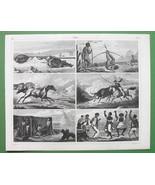 BRAZIL Indians Cattle Hunting Bird Shooting Negro Dance - SUPERB Antique... - $10.12
