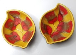Mid Century Lava Drip Leaf Design Snack Serving Bowls Pair Fall Woodsy P... - $21.73