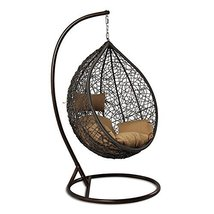 Island Gale Outdoor Brown Wicker Rattan Hanging Swing Egg Chair Hammock ... - $569.98