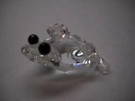 Vintage SWAROVSKI Crystal FROG Prince/King CROWN Black Eyes FIGURINE Ret... - $34.27
