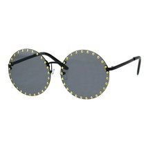 Studded Round Rimless Sunglasses Womens Punk Studs Fashion UV 400 - $12.95