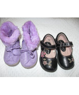 Lot of 2 Girls Baby sz 5 Dress Shoes and Soft Boots Liliac - $8.99