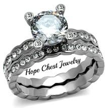 WOMEN'S STAINLESS STEEL 2 CARAT BRIDAL CZ ENGAGEMENT WEDDING RING SET SI... - $20.69