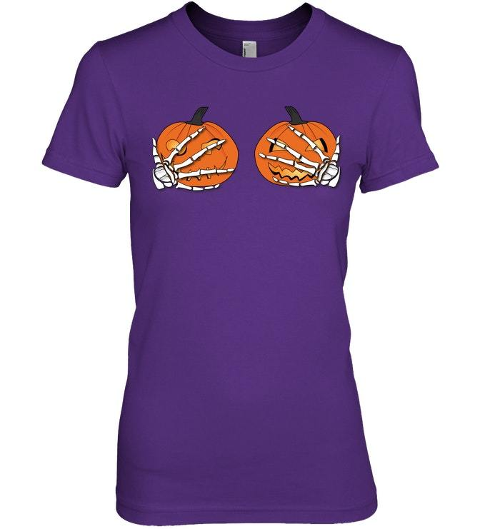 Funny Halloween Tshirt with Skeleton Hands and Pumpkins