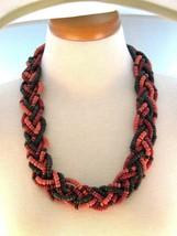 Wood Boho Braided Six Strand vintage Necklace - $16.19